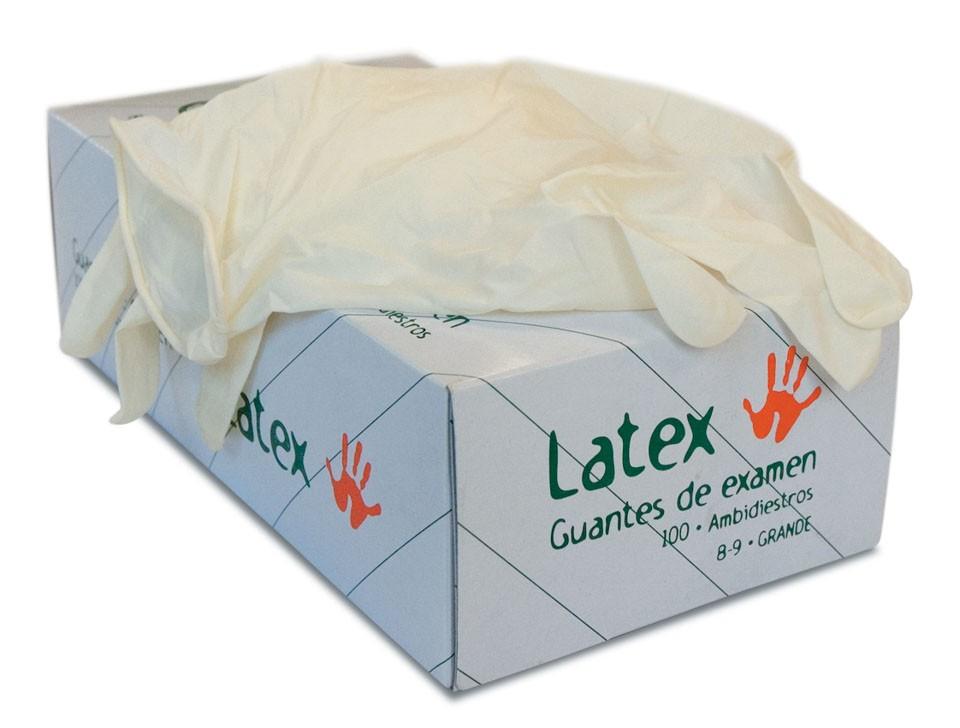 Caja de guantes de latex natural empolvados (L y M)  - 100 u